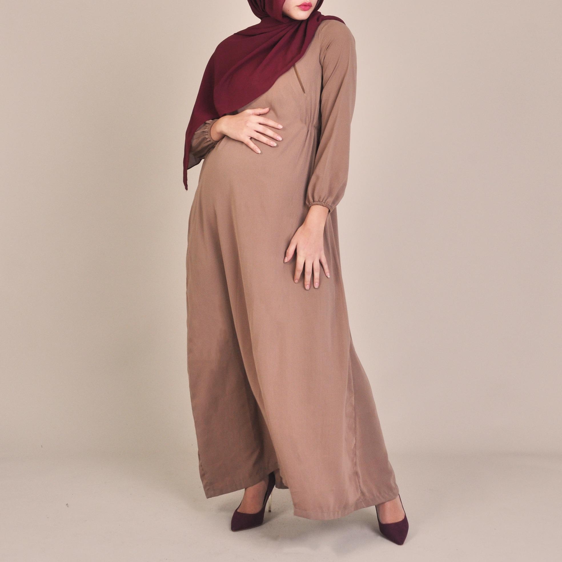 488a77b20fc63 Saira | Neutral Maternity Abaya Nursing Friendly Pregnancy Style | BIAH