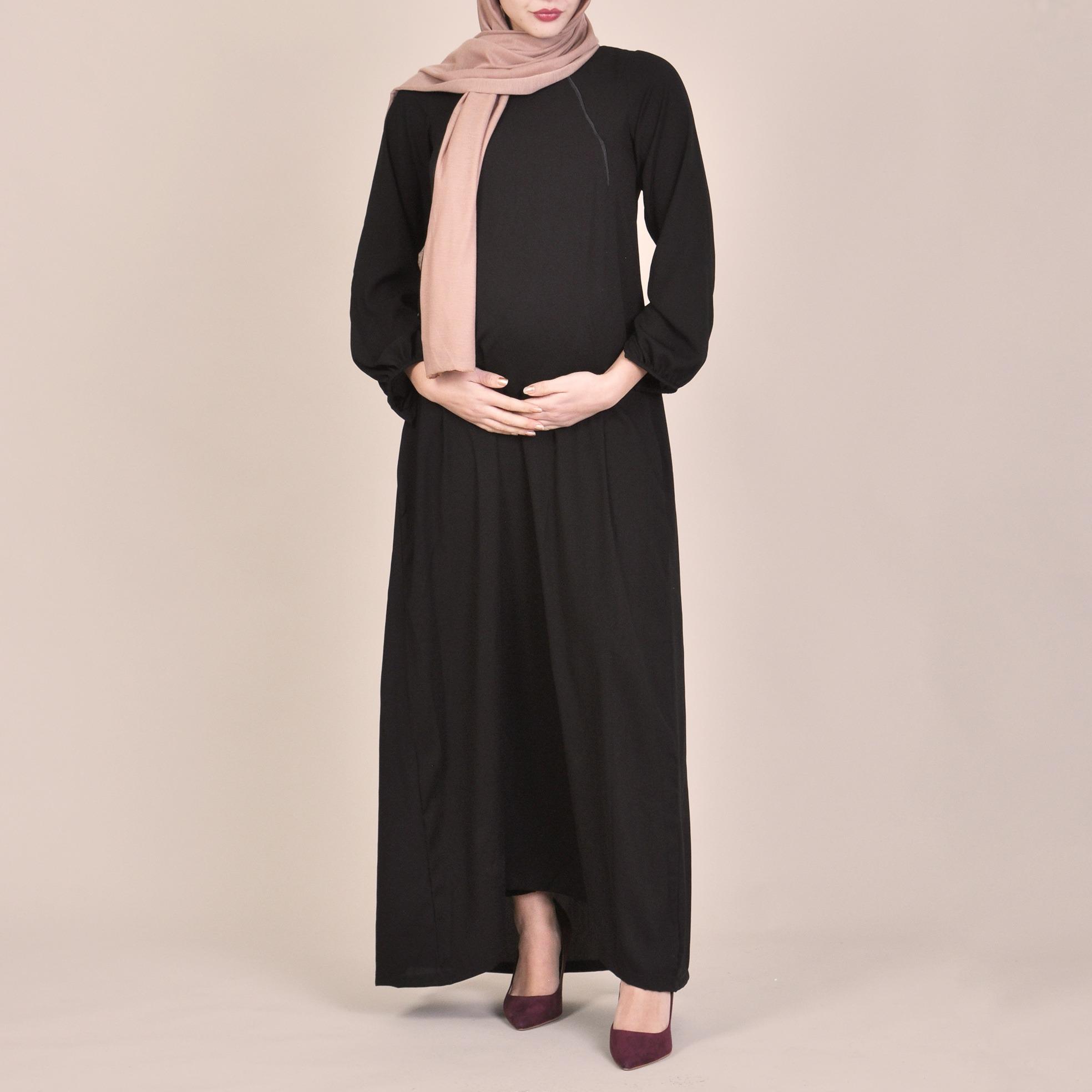 ace70e5511f3d Zaniah | Classic Black Modest Maternity Abaya Shop Online | BIAH